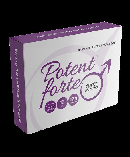 Potent Forte stimulerer potens og vitalitet, slik at det blir mulig å ha flere og mer intense sexopplevelser. Hver pille varer i over et døgn, slik at du kan ha flere seksuelle høydepunkter i løpet av en kveld. Relaterte produkter: PotenceXL, Viograx, Vigarex, Viagerex, Sildenafil, Viagra, Cialis m.m.